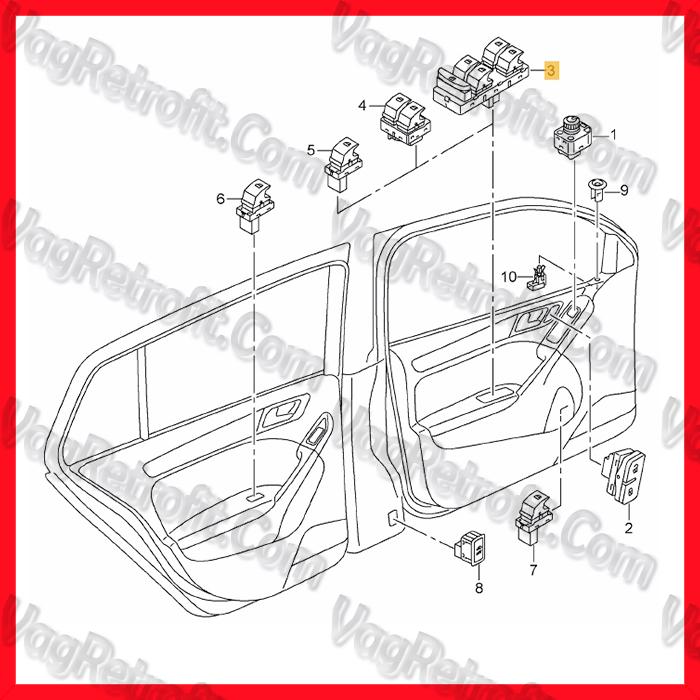 Poza 2 - Consola Butoane 4 Geamuri Electrice VW Golf 7 VII VW Sportsvan VW Passat B8 3G