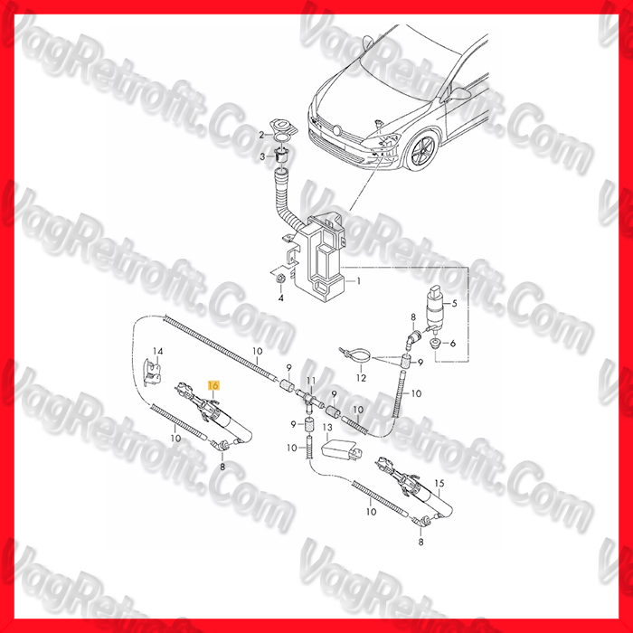 Poza 4 - Pompa Spalator Far Dreapta / Cilindru Spalator Far Dreapta VW Golf 7 VII