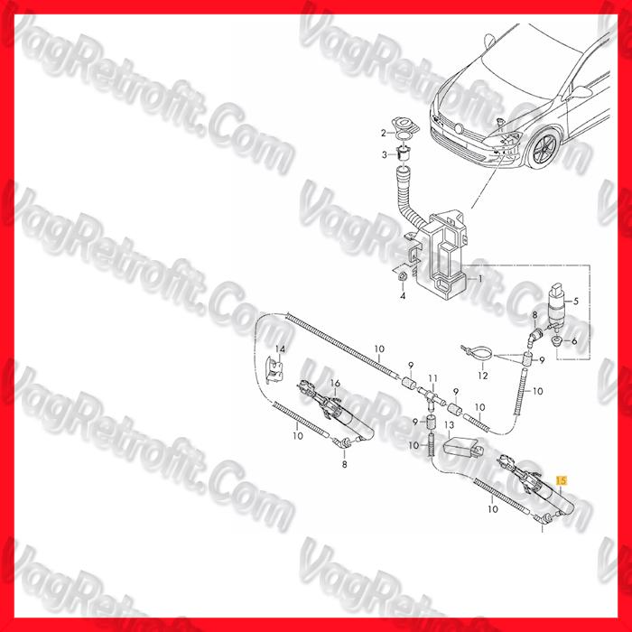 Poza 4 - Pompa Spalator Far Dreapta / Cilindru Spalator Far Stanga VW Golf 7 VII