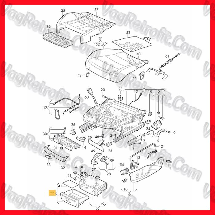 Poza 3 - Sertar / Compartiment Scaun Stanga Sofer Fata VW Golf 7 VII VW CADDY